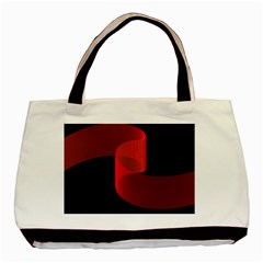 Tape Strip Red Black Amoled Wave Waves Chevron Basic Tote Bag by Mariart