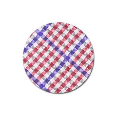 Webbing Wicker Art Red Bluw White Magnet 3  (round) by Mariart