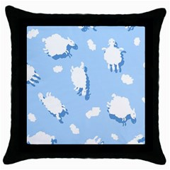 Vector Sheep Clouds Background Throw Pillow Case (black) by Nexatart