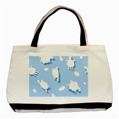 Vector Sheep Clouds Background Basic Tote Bag (two Sides) by Nexatart
