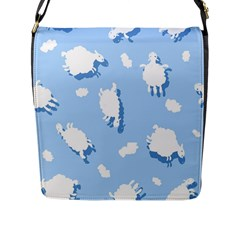 Vector Sheep Clouds Background Flap Messenger Bag (l)  by Nexatart
