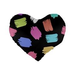 Many Colors Pattern Seamless Standard 16  Premium Flano Heart Shape Cushions by Nexatart
