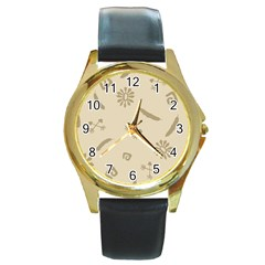 Pattern Culture Seamless American Round Gold Metal Watch by Nexatart