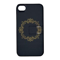 Monogram Vector Logo Round Apple Iphone 4/4s Hardshell Case With Stand