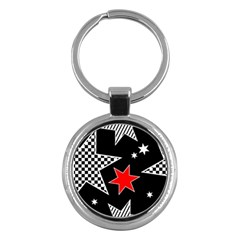 Stars Seamless Pattern Background Key Chains (round)  by Nexatart
