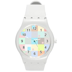 Pastel Diamonds Background Round Plastic Sport Watch (m) by Nexatart