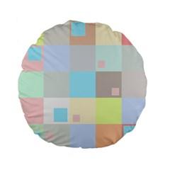 Pastel Diamonds Background Standard 15  Premium Flano Round Cushions by Nexatart