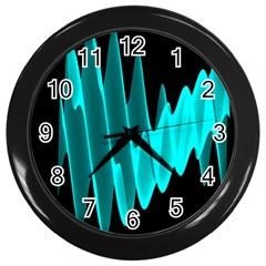 Wave Pattern Vector Design Wall Clocks (black) by Nexatart