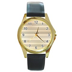 Notenblatt Paper Music Old Yellow Round Gold Metal Watch by Nexatart