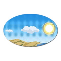 Grid Sky Course Texture Sun Oval Magnet by Nexatart