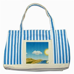 Grid Sky Course Texture Sun Striped Blue Tote Bag by Nexatart