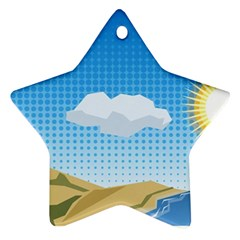 Grid Sky Course Texture Sun Star Ornament (two Sides) by Nexatart