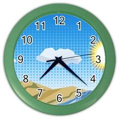 Grid Sky Course Texture Sun Color Wall Clocks by Nexatart