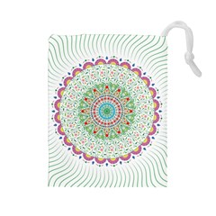 Flower Abstract Floral Drawstring Pouches (large)  by Nexatart