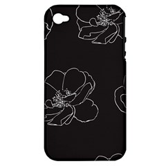 Rose Wild Seamless Pattern Flower Apple Iphone 4/4s Hardshell Case (pc+silicone) by Nexatart