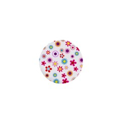 Floral Flowers Background Pattern 1  Mini Buttons by Nexatart