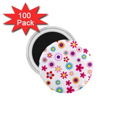 Floral Flowers Background Pattern 1 75  Magnets (100 Pack)  by Nexatart