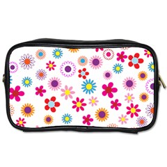 Floral Flowers Background Pattern Toiletries Bags by Nexatart