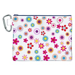 Floral Flowers Background Pattern Canvas Cosmetic Bag (xxl) by Nexatart