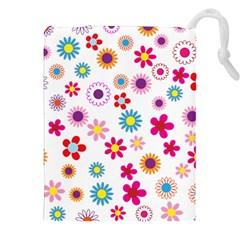 Floral Flowers Background Pattern Drawstring Pouches (xxl) by Nexatart