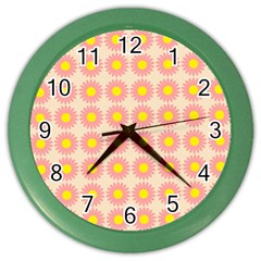 Pattern Flower Background Wallpaper Color Wall Clocks by Nexatart