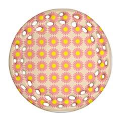 Pattern Flower Background Wallpaper Round Filigree Ornament (two Sides) by Nexatart
