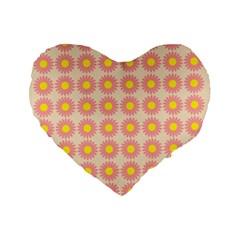 Pattern Flower Background Wallpaper Standard 16  Premium Flano Heart Shape Cushions by Nexatart