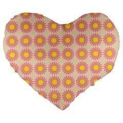Pattern Flower Background Wallpaper Large 19  Premium Flano Heart Shape Cushions by Nexatart