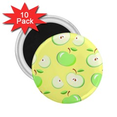 Apples Apple Pattern Vector Green 2 25  Magnets (10 Pack)  by Nexatart