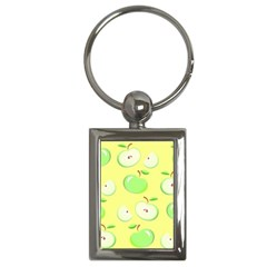 Apples Apple Pattern Vector Green Key Chains (rectangle)  by Nexatart
