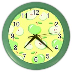 Apples Apple Pattern Vector Green Color Wall Clocks by Nexatart