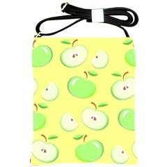 Apples Apple Pattern Vector Green Shoulder Sling Bags by Nexatart