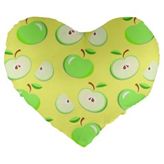 Apples Apple Pattern Vector Green Large 19  Premium Heart Shape Cushions by Nexatart