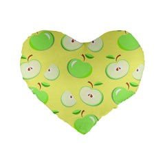 Apples Apple Pattern Vector Green Standard 16  Premium Flano Heart Shape Cushions by Nexatart