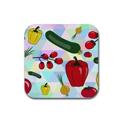 Vegetables Cucumber Tomato Rubber Square Coaster (4 Pack)  by Nexatart