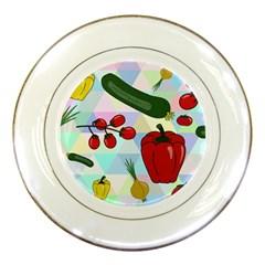 Vegetables Cucumber Tomato Porcelain Plates by Nexatart