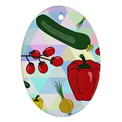 Vegetables Cucumber Tomato Oval Ornament (two Sides) by Nexatart