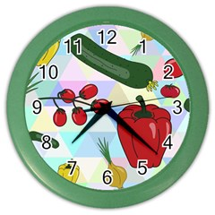 Vegetables Cucumber Tomato Color Wall Clocks by Nexatart