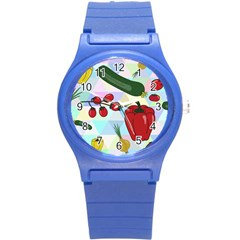 Vegetables Cucumber Tomato Round Plastic Sport Watch (s) by Nexatart