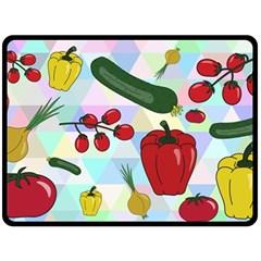 Vegetables Cucumber Tomato Double Sided Fleece Blanket (large)  by Nexatart