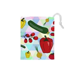 Vegetables Cucumber Tomato Drawstring Pouches (small)  by Nexatart
