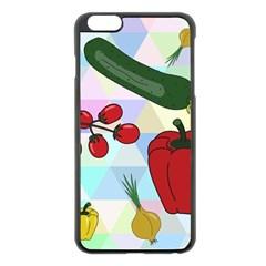 Vegetables Cucumber Tomato Apple Iphone 6 Plus/6s Plus Black Enamel Case by Nexatart