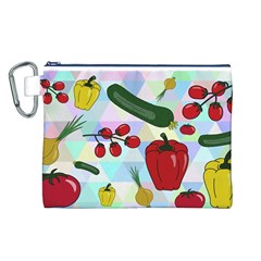 Vegetables Cucumber Tomato Canvas Cosmetic Bag (l) by Nexatart