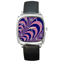 Fractals Vector Background Square Metal Watch by Nexatart