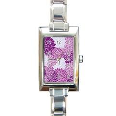 Floral Wallpaper Flowers Dahlia Rectangle Italian Charm Watch by Nexatart