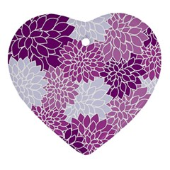 Floral Wallpaper Flowers Dahlia Heart Ornament (two Sides) by Nexatart