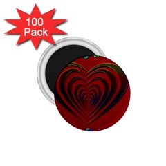 Red Heart Colorful Love Shape 1 75  Magnets (100 Pack)  by Nexatart