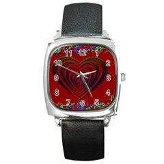 Red Heart Colorful Love Shape Square Metal Watch by Nexatart