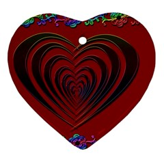 Red Heart Colorful Love Shape Heart Ornament (two Sides) by Nexatart