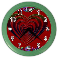 Red Heart Colorful Love Shape Color Wall Clocks by Nexatart